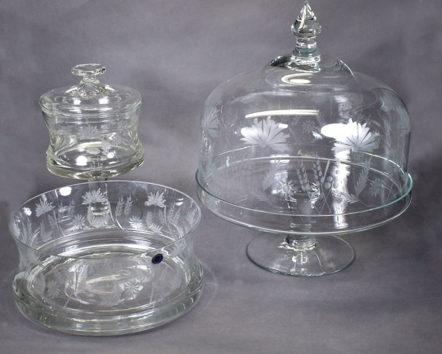 Bx Pressed Glass Cake Stand