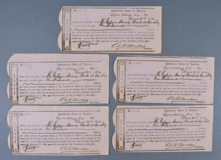 5 Confederate Bond Receipts
