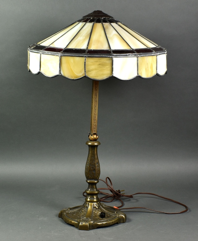 Art Deco Lamp Shade With Ruby & Cream Glass