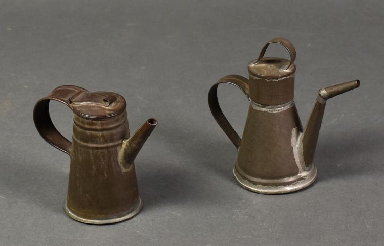 Two 19th Century Tin Miniature Oilers