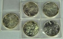 Five BU 1987 Silver Eagles