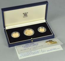 Three Coin 1988 Gold Britannia Proof Set