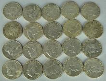 Roll of Circulated Franklin Half Dollars