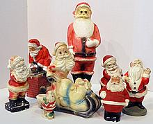 Bx Eight Chalkware Santa Figures