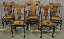 Set Of Five Oak Dining Chairs