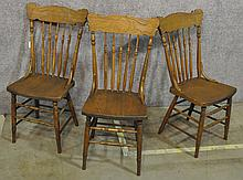 Three Turned And Pressed Back Dining Chairs