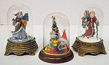 Bx Three Figurines Under Glass Domes