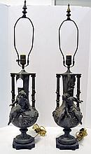 Two Patinated Metal Table Lamps