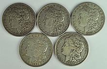 Five Circulated Morgan Dollars