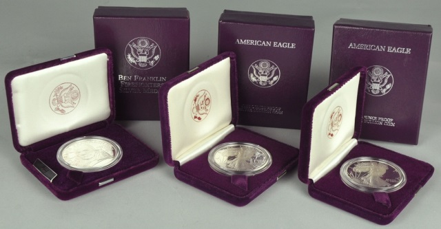 Two Proof 1987 Silver Eagles