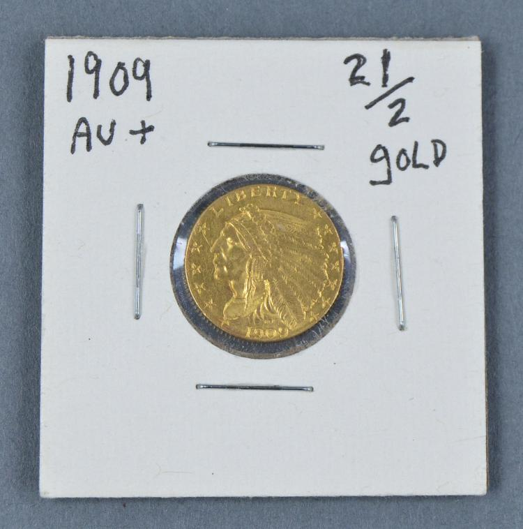 1909 Indian $2 1/2 Gold Coin