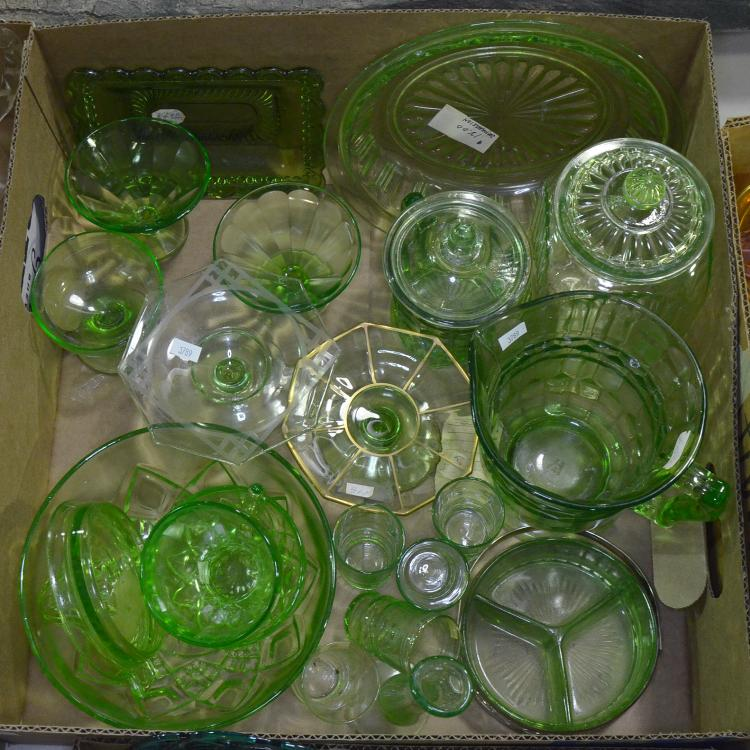 Bx Approx. 20 Pieces Green Depression Glass