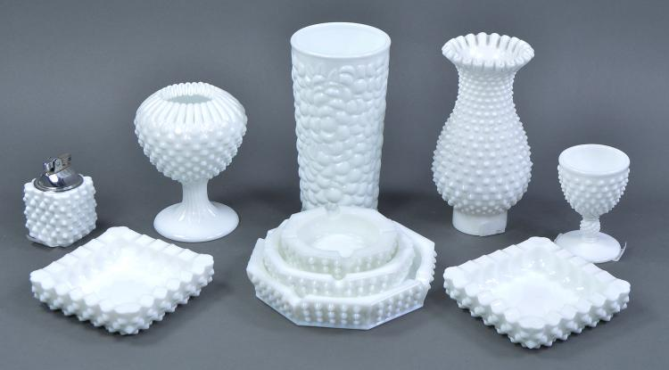 Bx Hobnail Milk Glass Items