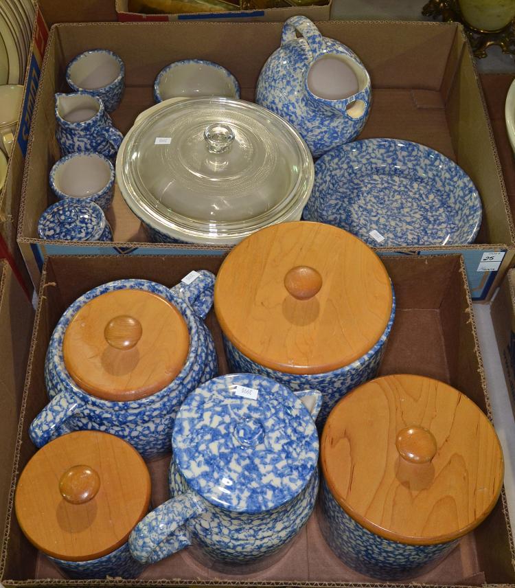 Two Bxs Blue & White Spongeware