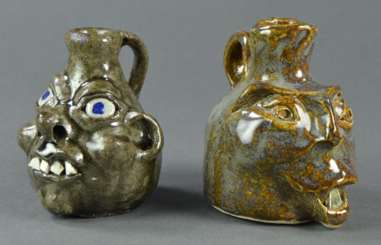 Two Small Face Jugs