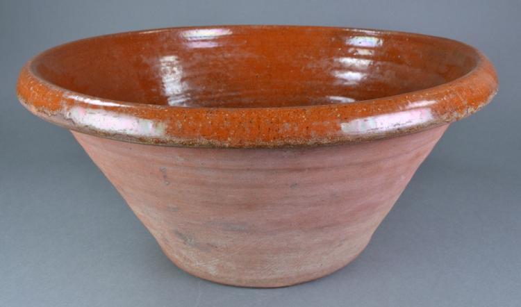 19th Century Redware Dough Bowl