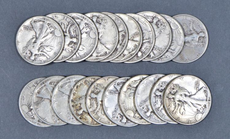 Roll of Circulated Walking Liberty Half Dollars
