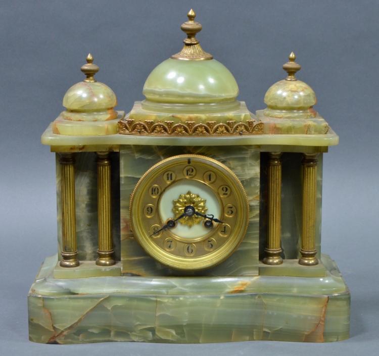 French Alabaster Mantle Clock