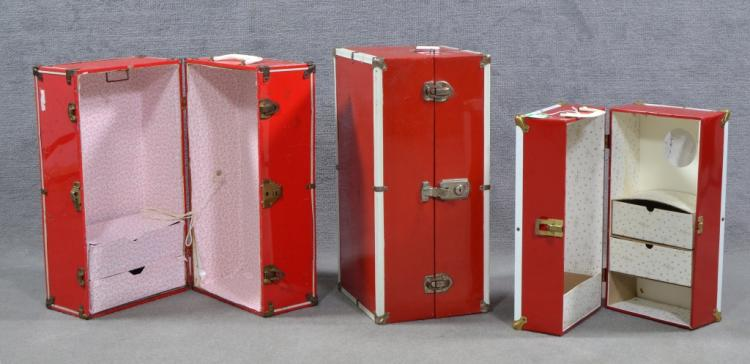 Three Red and White Doll Wardrobes