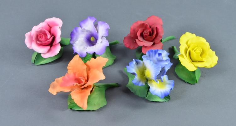 Bx Six Bisque Porcelain Flower Sculptures