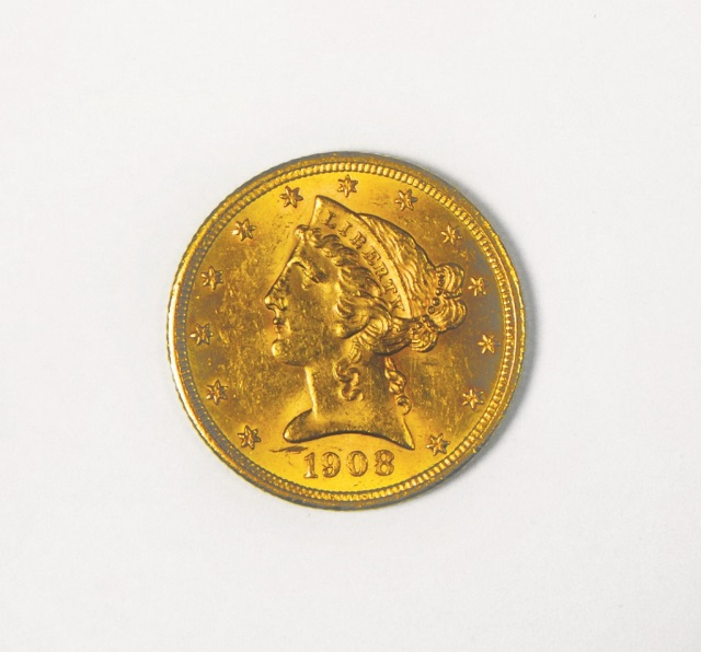 1908 Liberty $5 Gold Coin