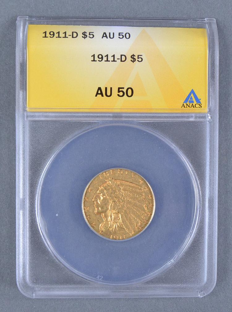 Very Rare 1911-D Indian $5 Gold Coin