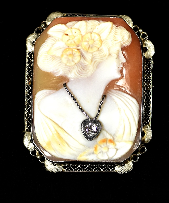 14k Shell Habille Cameo With Gold