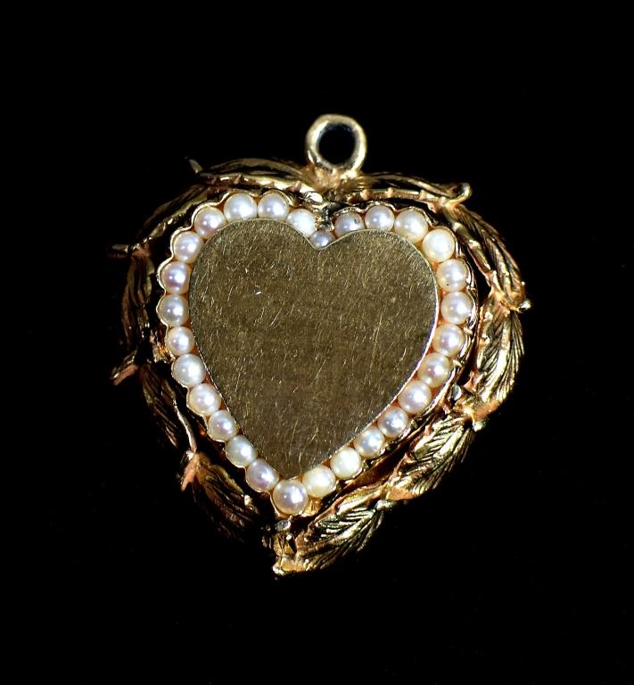14k Heart / Seed Pearl Pendant