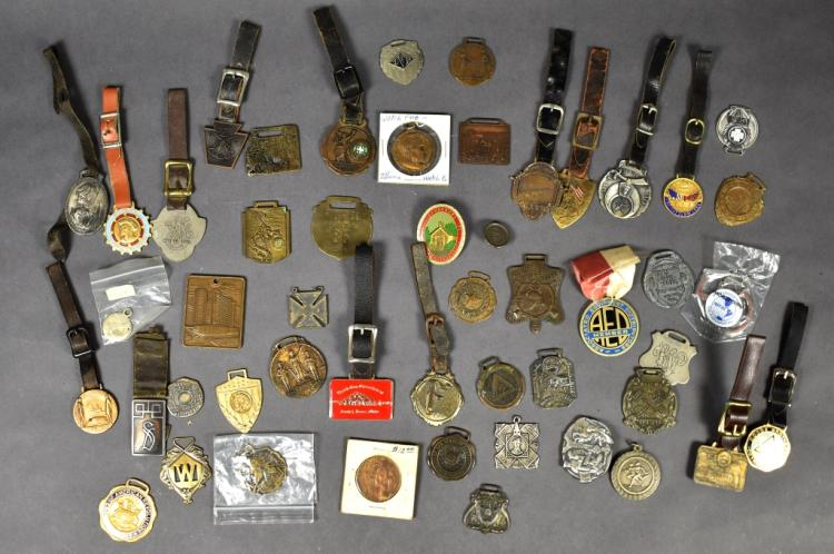 Group of 30+ Miscellaneous Watch Fobs & Medals