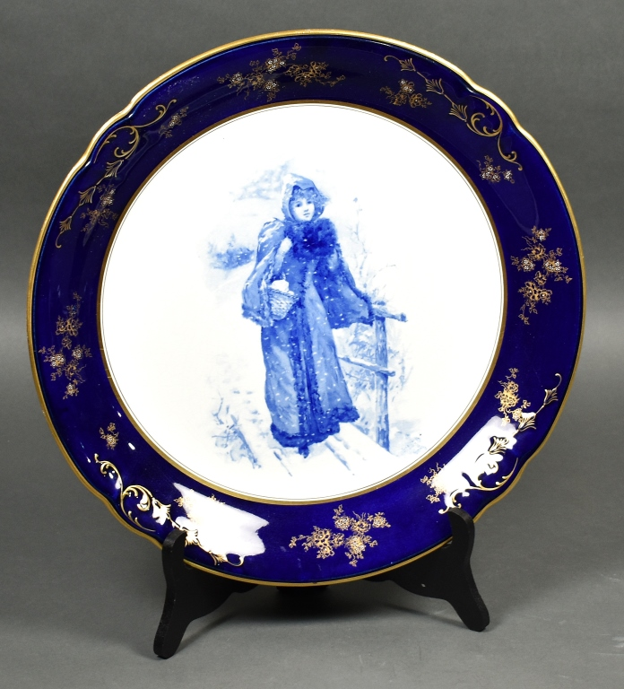 Hanging Charger or Plaque Blue with Girl Snow