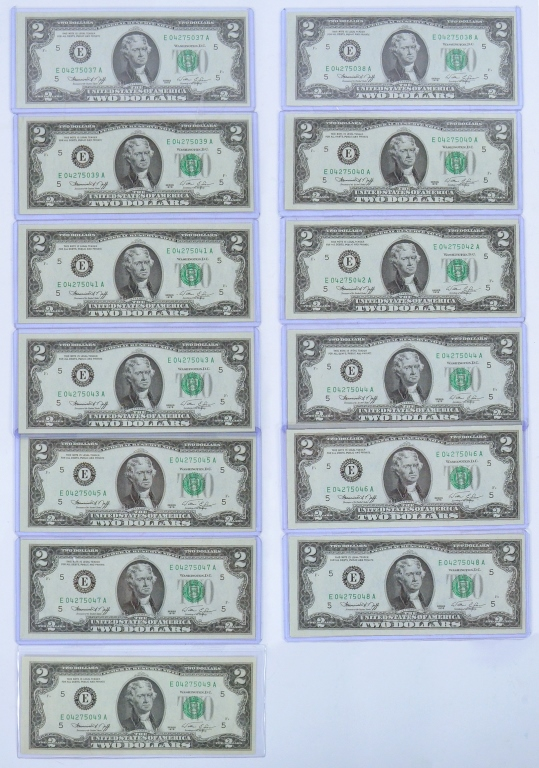 """Baker's Dozen"" 1976 Bicentennial $2 Notes"