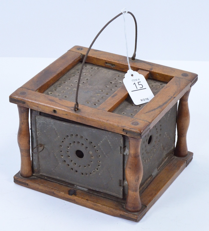 Primitive Punched Tin & Wood Foot Warmer