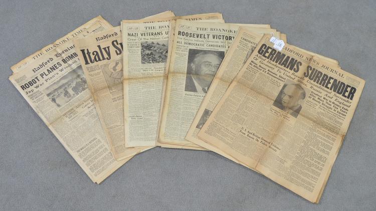 Approx. Twenty Vintage Newspapers