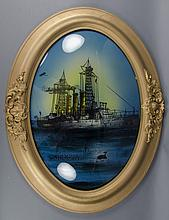 Reverse Painting on Glass, Battleship USS Georgia