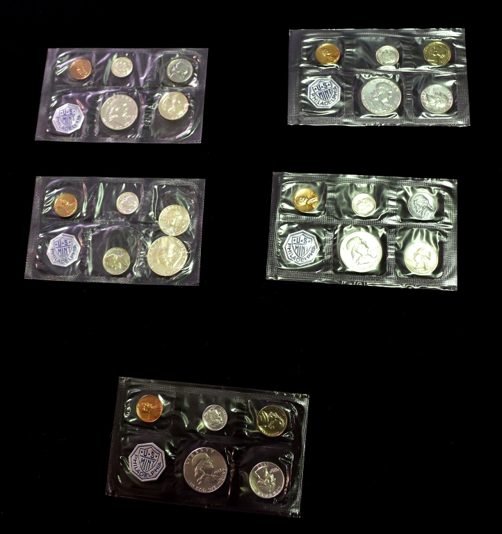 Five Silver Proof Sets in Mint Issued Envelopes
