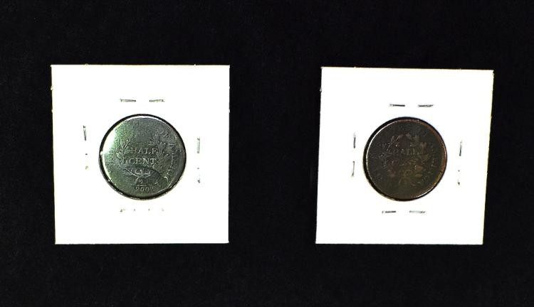 Two Draped Bust Half Cents