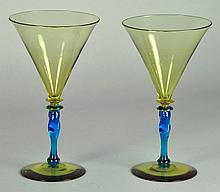 Pair Steuben Goblets
