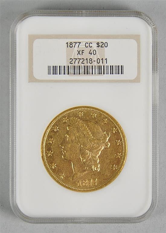 Very Scarce 1877-CC $20 Liberty Gold Coin