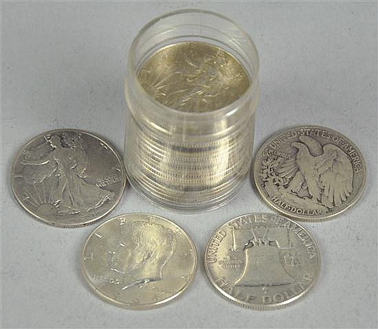 Roll of Mixed Silver Half Dollars