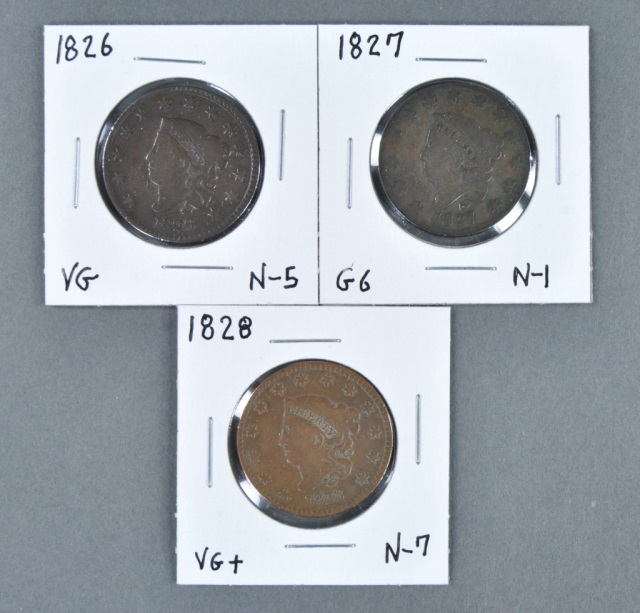 Three Coronet Head Cents
