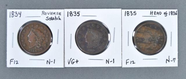 Three Coronet Head Large Cents