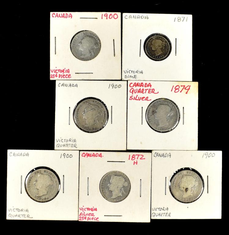 Six Canadian Obsolete Quarters