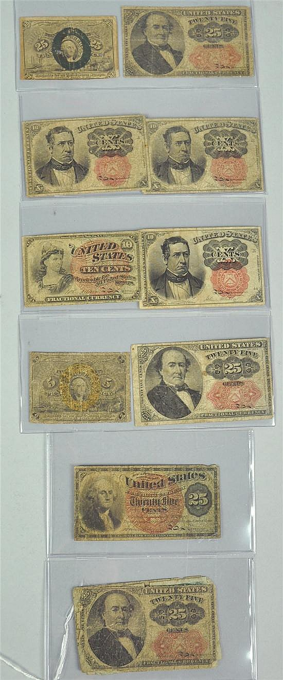 Group of 13 Fractional Currency Issues