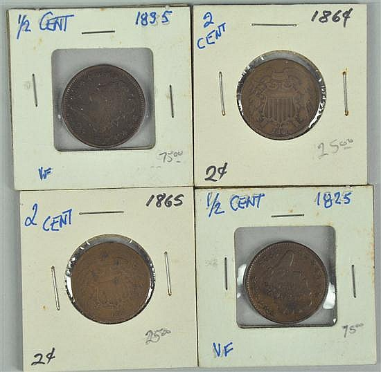 Group of Four Obsolete Coins