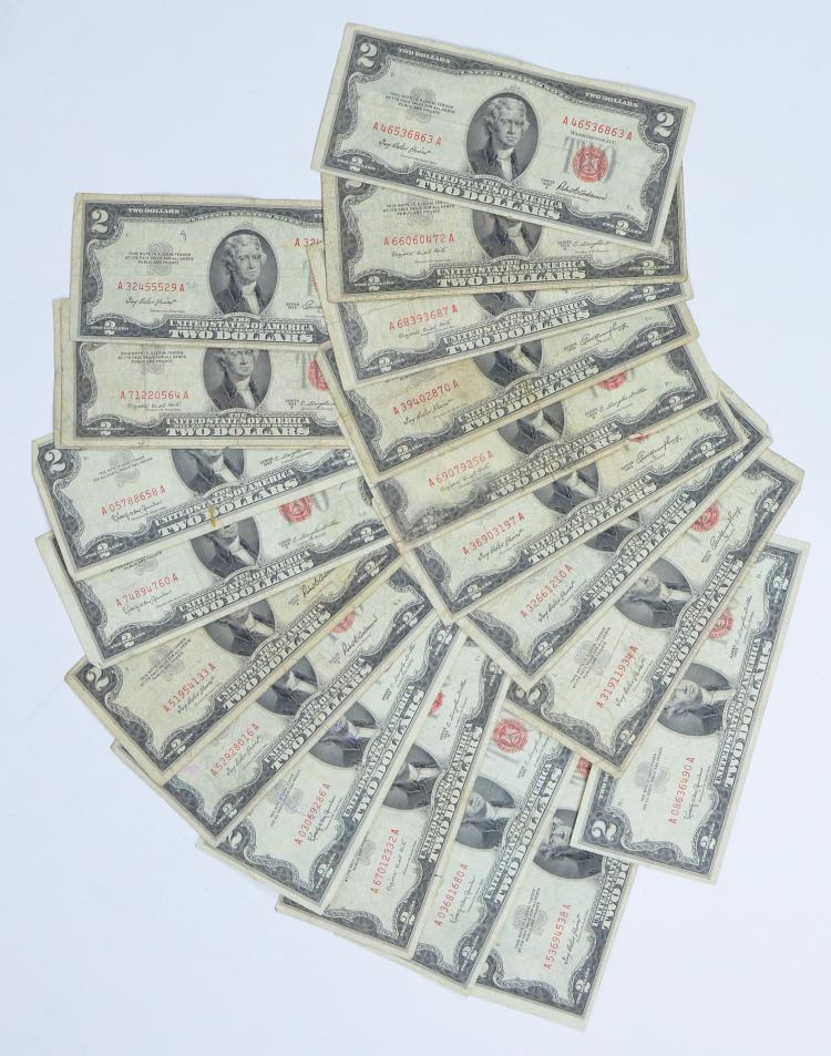 Twenty 1953 & 1963 Two-Dollar Red Seal Notes