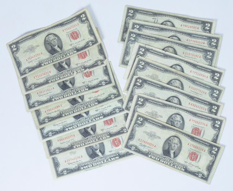 Fifteen 1953 & 1963 Two-Dollar Red Seal Notes