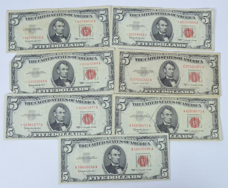 Four 1963 Five-Dollar Red Seal Star Notes