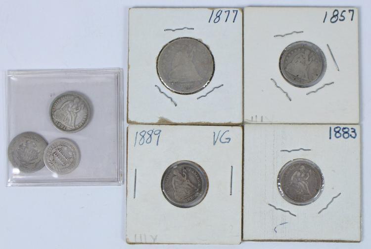 Lot of Five Seated Dimes