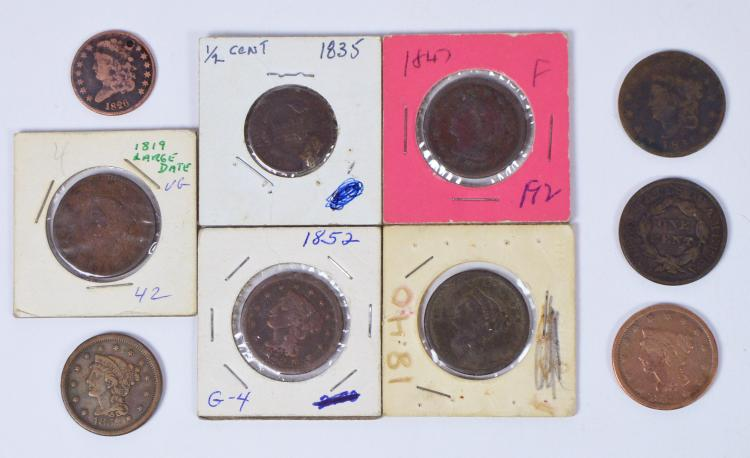 Lot of Eight Large Cents