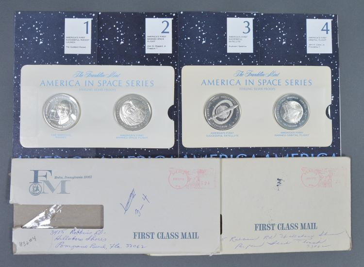 """Four """"America in Space"""" Silver Proof Medals"""